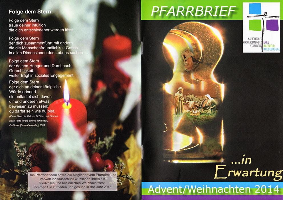 Pfarrbrief zu Weihnachten 2014 Titelseite