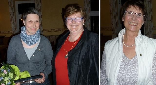 Conny Neumann (li.) und Erika Torringen wurden für eine 25-jährige Mitgliedschaft geehrt. Vorsitzende Monika Schollmeyer überreichte als Dank einen Blumenstrauß