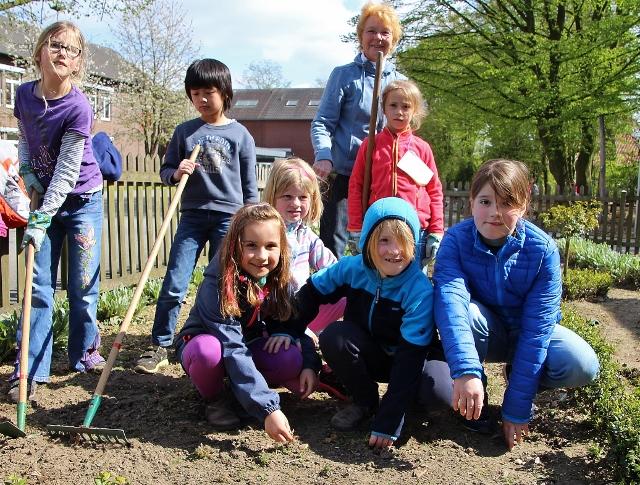 Alle Hände voll zu tun und viele Fragen rund um Unkraut und Gemüse hatten die Schülerinnen und Schüler der Garten AG
