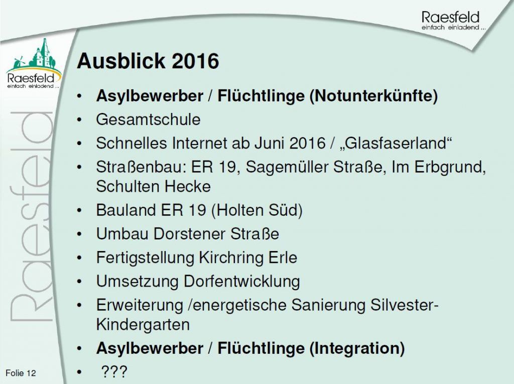 Das Jahr 2016 Raesfeld