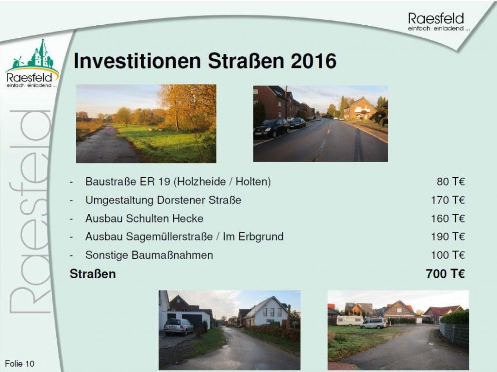 Investitionen Strassen Raesfeld