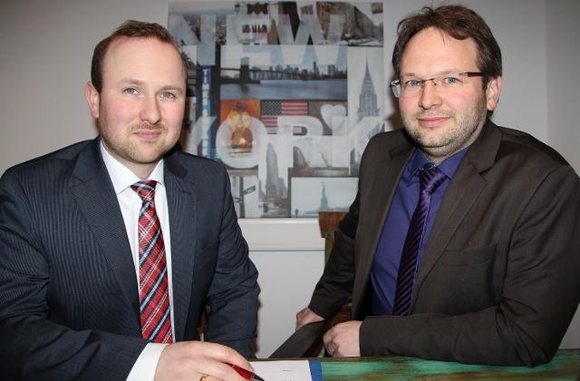 Fachanwälte in der Bürogemeinschaft in Erle Markus Nowotsch. und Mike Marcinowski (l.)