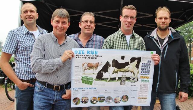 Die Milch ist mehr wert. Um die Wertigkeit der Milch dem Verbraucher näher zubringen, standen die Junglandwirte aus Raesfeld und Homer Stepfhan Gesing, Ewald Becker, Felix Brömmel, Henrik Wilger und Markus Brömmel (v. l.) vor dem Rewe-Markt in Raesfeld.