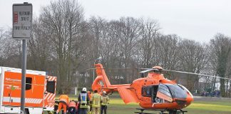 Rettungshubschrauber nach Unfall in Raesfeld