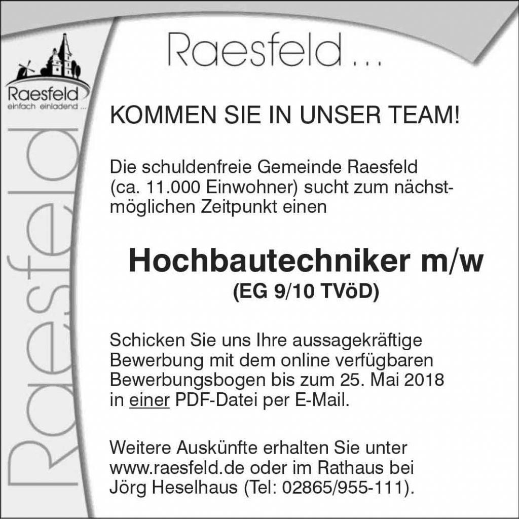 Stellenanzeige Gemeinde Raesfeld