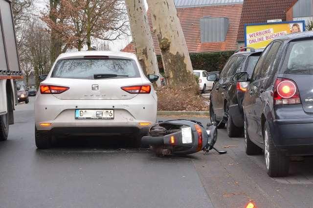 Unfall mit Motorroller Silvesterstrasse Erle