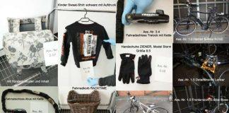 Sichergestellte Räder, Bekleidung und Gegenstände