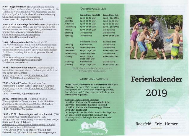 Ferienkalender Raesfeld 2019