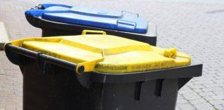 Mülltonne gelbe und blaue