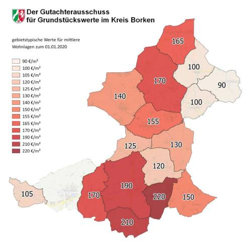 Grundstückspreise im Kreis Borken