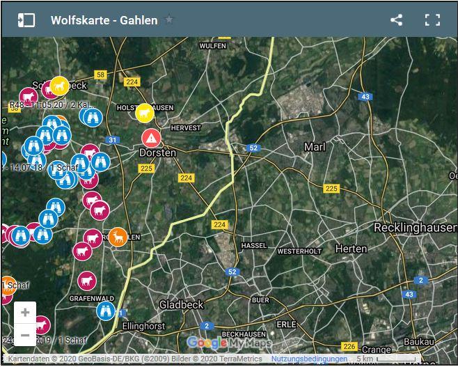 Wolfssichtung Karten Wolfsgebiet Schermbeck