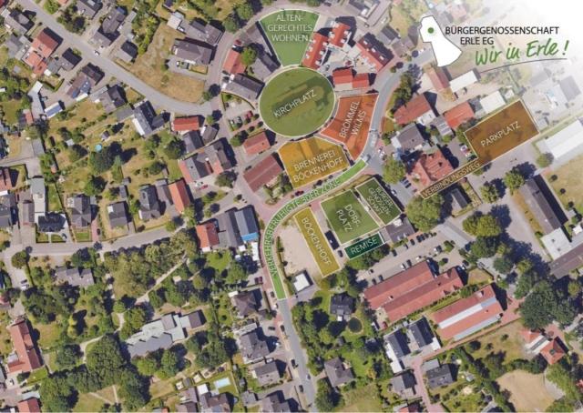 Wir in Erle Dorfkern Erle Genossenschaft Dorfplatz