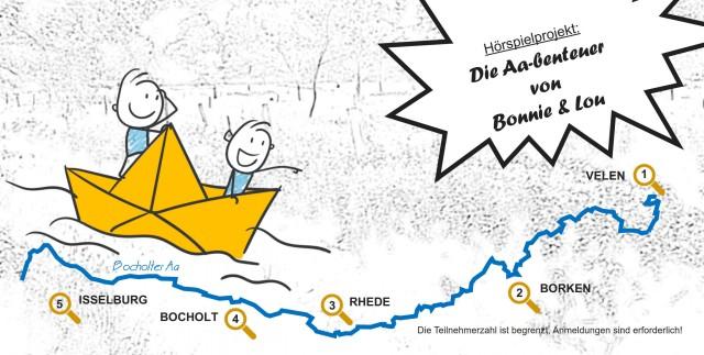 Mit Bonnie und Lou entwickeln junge Autorenteams spannende Hörspiel-Episoden entlang der Bocholter Aa. Grafik: Bürgerstiftung Westmünsterland